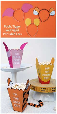 5 ideas for a Winnie the Pooh themed party, including #free printable popcorn boxes and Tigger, Piglet, and Pooh headbands!