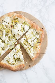 Ricotta, courgette and rosemary pizza