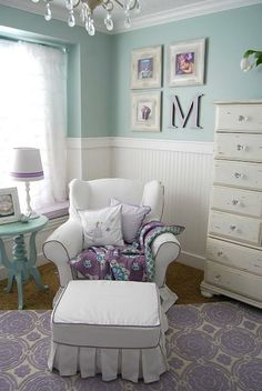 Purple & Mint Toddler Room! I also like these walls for my guest bath!