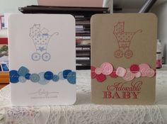 Hand made baby cards for boys and/or girls. All products used are Stampin' Up.  Stamp sets used are Sweetest Gift, Baby Bundle and A Word for You. Cards stocks whisper white, bashful blue, baja breeze, marina mist, and night of navy; crumb cake pink pirouette, blushing bride, pretty in pink, rose red and melon mambo. Inks bashful blue, smoky slate and melon mambo. Sweet buttons embosslits, paper piercing tool/mat and white gel pen.