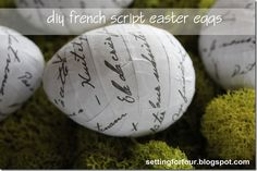 DIY French Script Easter Eggs from: Setting for Four
