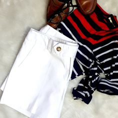 Mossimo White Chino Shorts So classic and tailored are these crisp, white chino shorts. It goes right along with your cigarette pant, pencil skirt, blazer and all other closet staples. Sandals and button ups or sleeveless blouses fit these perfectly as do those nude heels, gladiators and summer sweaters. No need to bust out the bronzer to wear white, ladies. Super healthy au naturale skin tones are where it's at! Plus, some of us can't reach our backs. #splotchy (Gently worn. Great…