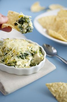 Easy Spinach and Artichoke Dip Warm, gooey spinach and artichoke dip with melted cheese is an appetizer that ranks highly on everyone's list of comfort foods.