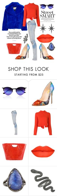 """Street Smart"" by shearenvy ❤ liked on Polyvore featuring Ray-Ban, Current/Elliott, Rejina Pyo, Nancy Gonzalez, Bavna, Federica Tosi, red, Blue, orange and jeans"