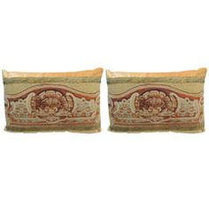 Pair of Antique Aubusson Tapestry Lumbar Pillows.