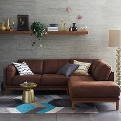 Dekalb 3-Piece Premium Leather Terminal Chaise Sectional #westelm - PERFECT for mancave/family media room area