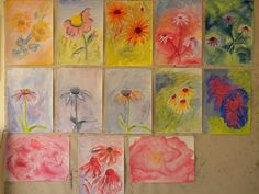 Age 12 ~ Botany ~ Flowers from Observation ~ watercolor painting