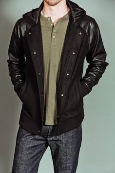 LAB:CO X B:SCOTT VARSITY JACKET WITH FAUX LEATHER SLEEVES TRIPLE BLACK