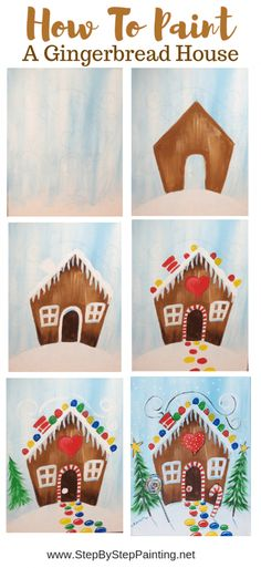 christmas paintings Learn to paint a gingerbread house step by step. This acrylic canvas painting tutorial is great for kids and includes a traceable of a gingerbread house. Canvas Painting Tutorials, Easy Canvas Painting, Painting For Kids, Diy Painting, Acrylic Canvas, House Painting, How To Paint Canvas, Learn Painting, Diy Gifts For Christmas