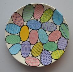 Easter Egg Doodle Plate | Paint Your Own Pottery | Paint Your Pot | Cary, North Carolina