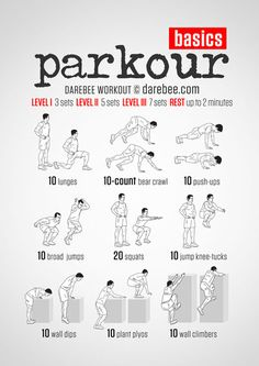 Parkour Workout | great site with workouts (19 pages with 12 per page), programs, challenges, running, fitness, motivation, nutrition, meal plans & recipies