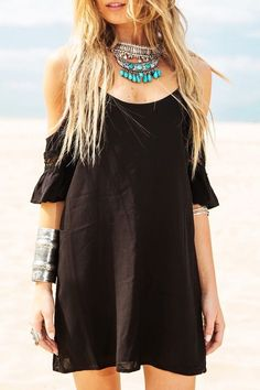 Black Cami Half Sleeve Dress