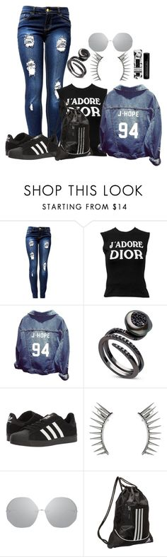 """""""Untitled #5226"""" by princhelle-mack ❤ liked on Polyvore featuring Christian Dior, adidas, Latelita, Linda Farrow and Beekman 1802"""