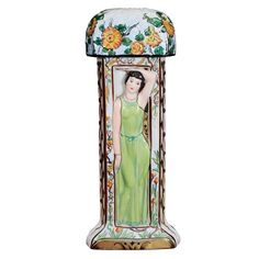Limoges Art DecoTable Lamp  France  1930's  LIMOGES Art Deco Porcelain Table Lamp  Decorated with three polychrome female figures in high relief, c. 1928. Marked Limoges and signed Rauche