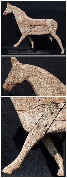 Antique wooden folk art horse.