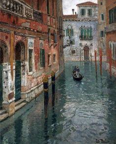 Frits Thaulow (1847-1906)  View of Venezia  Olio su tela, 82 x 66 cm Coll.privata