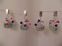 Fun set of 4 tablecloth weights made with white glass beads wrapped in white wire topped with red, white, and blue beads. $18 Tablecloth Weights, Blue Beads, Glass Beads, Christmas Bulbs, Wire, Holiday Decor, How To Make, Fun, Stones