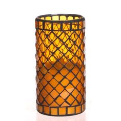 Diamond Shaped Mosaic Glass with Flameless LED Candle with Timer >>> To view further for this article, visit the image link. #FlamlessCandle