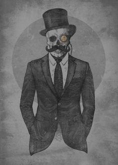 retro vintage classic steampunk moustache tophat suit skull skeleton