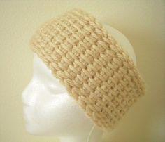 Tunisian Crocheted Light Tan Ear Warmer Headband