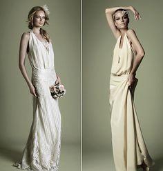 Romantikus, szabadtéri esküvőkhöz remekül passzolnak a visszafogott ruhák, melyeknél az anyag lágy esése dominál.