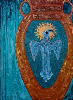 Southwest Decor, Mixed Media Painting, Impressionist, Pet Birds, Collage, Fine Art, Texture, Canvas, Artwork