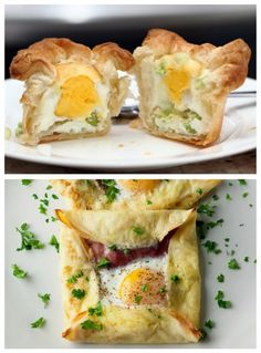 ULTIMATE EGGS IN A BASKET  2 small squares of puff pastry (big enough to fill the cavity of a muffin tin and have the corners stick out)  2 eggs  1 scallion  some grated cheese  salt, pepper  a muffin tin  butter or baking spray to grease the muffin tin