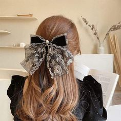 Royal Hairstyles, Kawaii Hairstyles, Princess Hairstyles, Cute Hairstyles, Black Hair Bows, Lace Hair, Aesthetic Hair, Bow Hair Clips, Ginger Hair