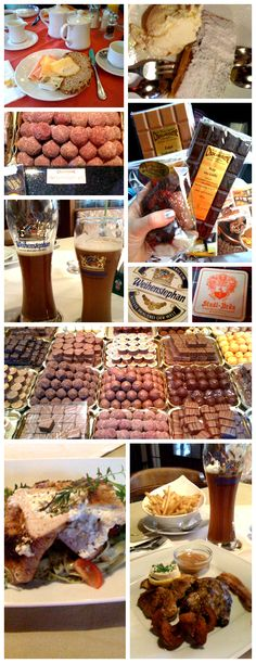 This is a great picture to give you an overall insight into Austrian cuisine. Amazing breakfast, deserts, chocolate, beer,and hot meals!!!