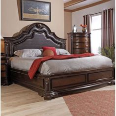 Myco Furniture Shevonne Collection Queen Size Panel Bed with Faux Leather Headboard and Inserts on Footboard, Nailhead Trim, Carving Details, Molding Details, Tropical Hardwood and Veneer Construction in Cherry Brown Finish Bedroom Furniture, Bedroom Decor, Platform Bed Designs, Wood Bed Design, Leather Headboard, Upholstered Platform Bed, Panel Bed, Bed Sizes, Nailhead Trim