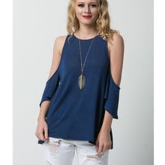 """CLEARANCE """"The Cold Shoulder"""" Blue Top Cold shoulder top in blue. Perfect for warmer weather. Material is super soft and comfy. Brand new without tags. Bare Anthology Tops"""