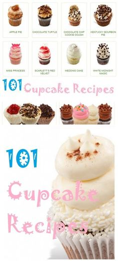 101 cupcake recipes, all the cupcake recipes, chocolate cupcakes, vanilla cupcakes, and more.have to scroll down a little ways to get to list of cupcakes. Köstliche Desserts, Delicious Desserts, Dessert Recipes, Yummy Cupcakes, Vanilla Cupcakes, Gourmet Cupcakes, Strawberry Cupcakes, Easter Cupcakes, Flower Cupcakes