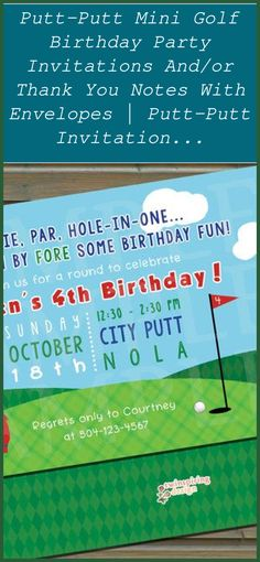 Putt-Putt Mini Golf Birthday Party Invitations and/or Thank You Notes with Envelopes   Putt-Putt Invitation Mini Golf Invitation   Golf Birthday Party Invitations   Golf Party Decorations   Golf Cakes For Men   Golf Birthday Cakes. Examine out these creative golf party concepts to assist toss your golf enthusiast an awesome golf themed party #golfparty #Party ideas