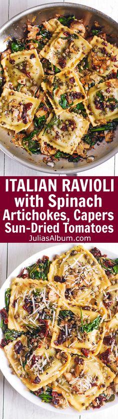 Italian Ravioli with Spinach, Artichokes, Capers, Sun-Dried Tomatoes. Veggie Recipes, Pasta Recipes, Vegetarian Recipes, Great Recipes, Dinner Recipes, Cooking Recipes, Healthy Recipes, Favorite Recipes, Chicken Recipes