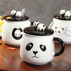 Cartoon panda ceramic cup creative mug simple coffee ceramic cup creative mug with cover Korean students cups -in Mugs from Home & Garden on Aliexpress.com | Alibaba Group