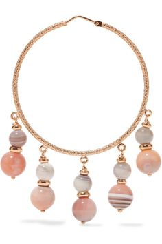 Carolina Bucci - Recharmed 18-karat Rose Gold Agate Hoop Earrings - one size