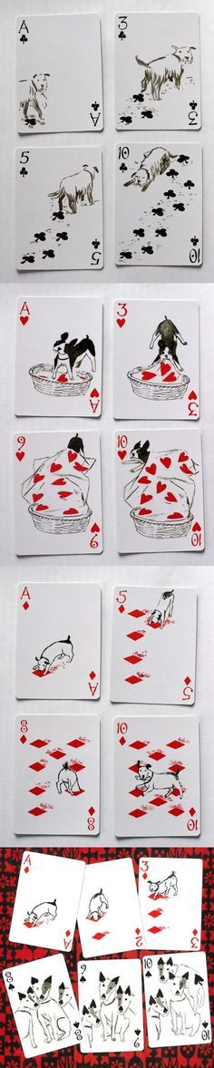 "This has to be one of the cutest decks of cards ever! ""Pack of Dogs"" playing cards are from a series of four decks designed by John Littleboy in 2006, & produced by Inky Dinky. The pip cards have been transformed from the standard positions into a sequence of images which tell a story. The other three decks are Mermaid Queen, Bag of Bones, & Kitten Club. They're priced at"