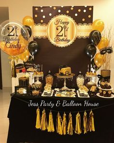 Dessert Table For Black And Gold Birthday Party Theme Jean S Decorations