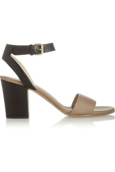 Heel measures approximately 70mm/ 3 inches with a 10mm/ 0.5 inch sole Black and beige leather  Open almond toe Buckle-fastening ankle strap