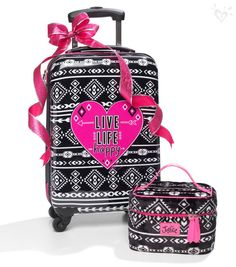For the Little Ones: Black and White Tribal Hard Shell Suitcase @Justice