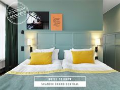 Sage and mustard yellow bedroom at the Scandic Grand Central hotel, Stockholm. I love these colors.