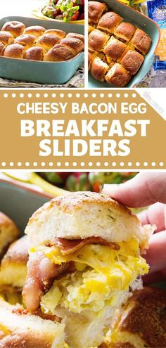 An easy spring recipe perfect for breakfast or brunch! Cheesy Bacon Egg Breakfast Sliders are soon to be a family favorite food for the spring season. Delicious slider sandwiches are stuffed with bacon scrambled eggs and cheese. Pin this for later! Delicious Breakfast Recipes, Brunch Recipes, Dinner Recipes, Wrap Recipes, Cocktail Recipes, Yummy Food, Breakfast Slider, Bacon Breakfast, Breakfast Ideas