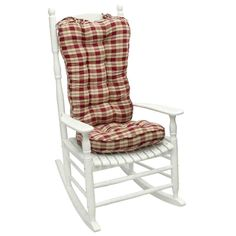 Greendale Home Fashions Applegate Plaid Jumbo Rocking Chair Cushion Rocking Chair Cushions, Dining Room Chair Cushions, Papasan Chair, Wicker Chairs, Cheap Comfy Chairs, Black Coffee Table Sets, Grey Walls Living Room, Wooden Folding Chairs, Mid Century Chair