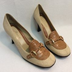 "Vintage style linen look beige with leather accent Cute Highlights beige faux leather linen look shoes with a vintage flair. All man made material. Heel is 3.25"". Very lightly used, and in very good condition. Highlights Shoes"