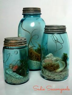 Beach Jars- one of my favorite ways to use vintage mason jars. Keep the beach near you all summer long in one of these gorgeous aqua jars.