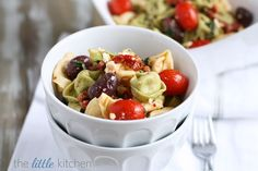 Yes please! - Feta and Kalamata Olive Tortellini Pasta Salad via @Julie   The Little Kitchen