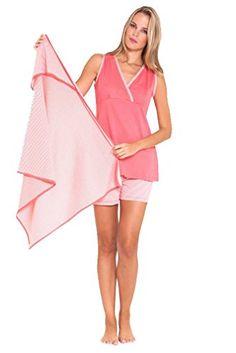 efa86de0792c7 Olian Anne 3 Piece Mom And Baby Maternity Nursing Short Pajama Gift Set  Pink Medium *