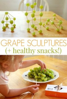 Engage their mind and taste buds with this fun building (and eating!) project. Grape Sculptures and Healthy Snacks for Kids {this could double as a STEM/STEAM project too!} #nutritionactivitiesforkids