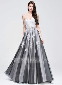A-Line/Princess Sweetheart Floor-Length Tulle Prom Dress With Beading Appliques Lace Sequins (018075875)