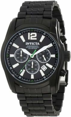 Invicta Men's 10629 Specialty Chronograph Black Dial Black Ion-Plated Stainless Steel Watch Invicta. $109.00. Water-resistant to 100 M (330 feet). Chronograph functions with 60 second, 60 minute and 24 hour subdials; date function. Japanese quartz movement. Flame-fusion crystal; black ion-plated stainless steel case and bracelet. Black dial with silver tone and white hands, hour markers and arabic numeral 12; green second hand; luminous. Save 82% Off!